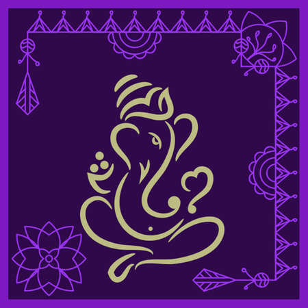 god ganesh: Ganesha The Lord Of Wisdom Vector Art Illustration