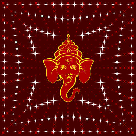 flames background: Ganesha The Lord Of Wisdom Vector Art Illustration