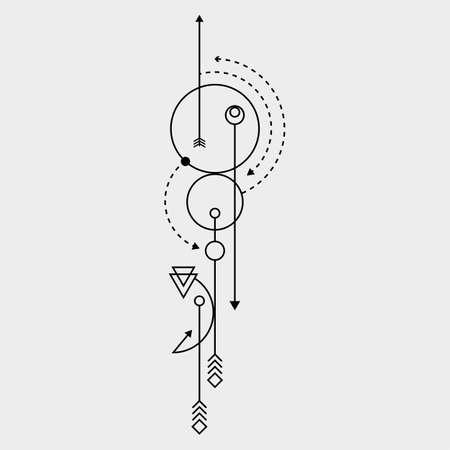 Línea arte del tatuaje del punto del vector
