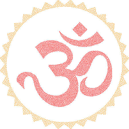 aum: Aum (Om) The Holy Motif Stipple Effect Vector Illustration Illustration