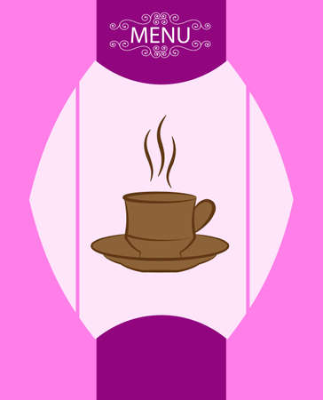 sugar cube: Coffee Tea Menu Card Design Template Vector Illustration