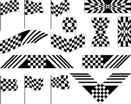 vinyl ready: Race Flag Set Various Designs, Vinyl Ready Vector Illustration