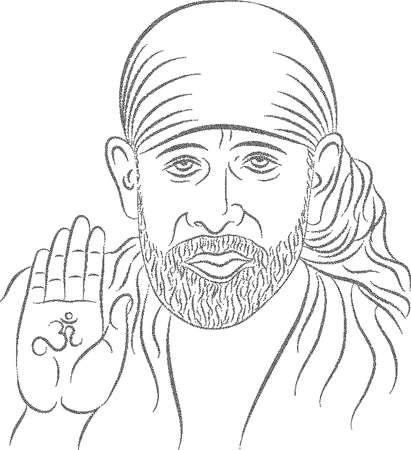 シルディ ・ サイ ・ ババ点描効果ベクトル図