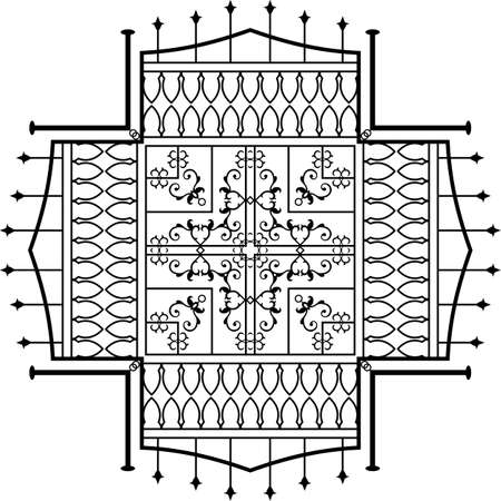 cast in place: Wrought Iron Fireplace Grill Vector Art