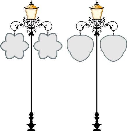 signage: Wrought Iron Signage With Lamp, Lantern Vector Illustration Illustration