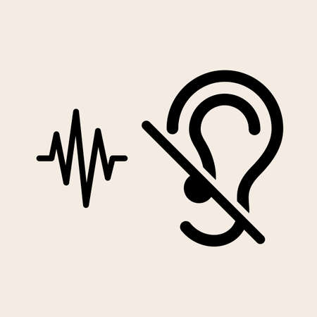 unable: Deaf Icon, Disability to Hear Vector Illustration Illustration