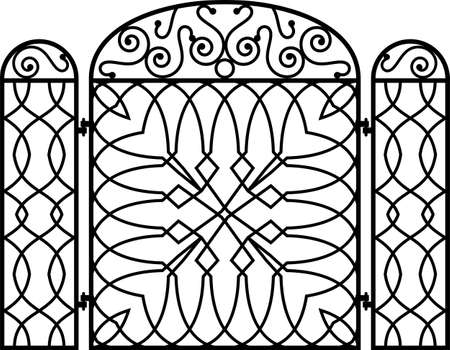 cast iron: Wrought Iron Fireplace Screen Vector Illustration Illustration