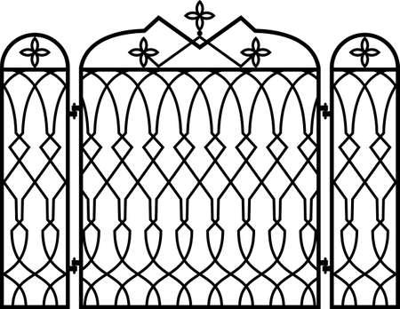 winter grilling: Wrought Iron Fireplace Screen Vector Illustration Illustration