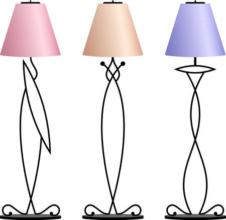 cast iron: Wrought Iron Table Floor Lamp Vector Illustration
