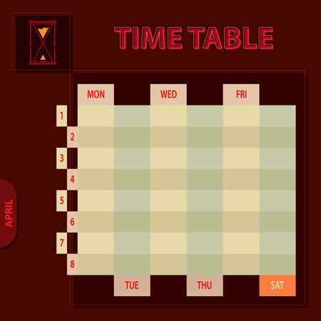 timetable: Timetable Schedule Planner Vector Illustration Illustration