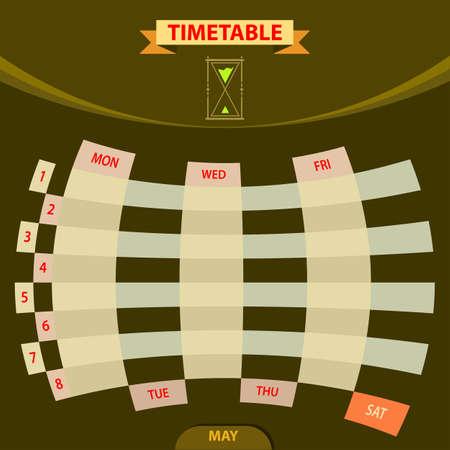 fill in: Timetable Schedule Planner Vector Illustration Illustration