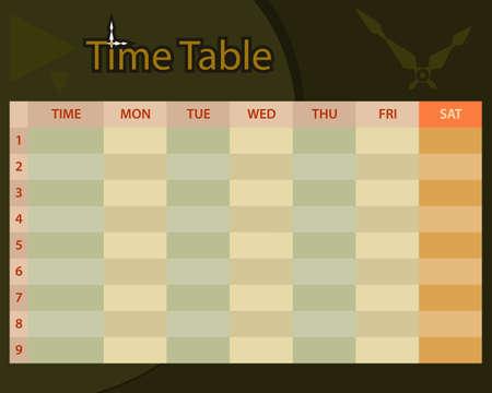 cronograma: Horario calendario planificador ilustraci�n vectorial