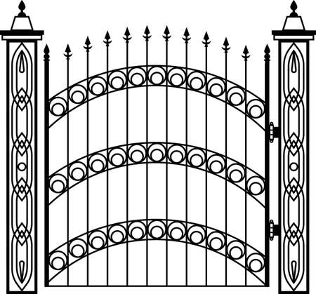 cast iron: Wrought Iron Gate Pillar Vector Illustration