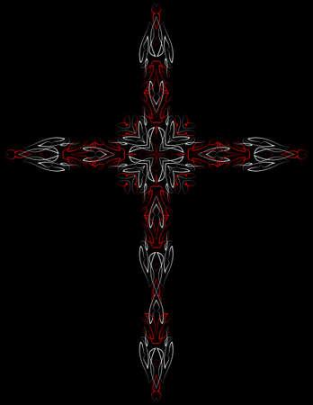Pinstripe Christian Cross : Vinyl Ready Vector Illustration Illustration