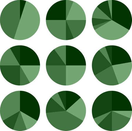 Pie Chart Icon Set Ilustraciones Vectoriales
