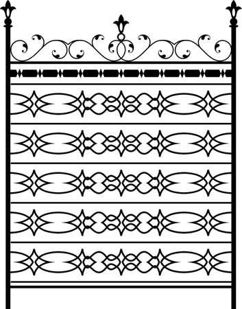 Puerta de hierro forjado, puerta, valla, ventana, Grill, Diseño Baranda Ilustración de vector