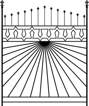 bracket: Wrought Iron Gate, Ornamental Design Vector Illustration