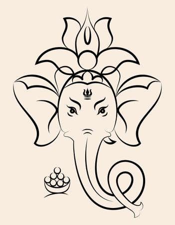 Ganesha le seigneur de la sagesse illustration vectorielle Banque d'images - 85029157