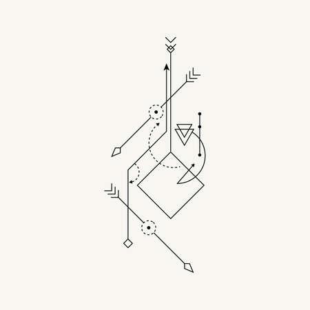 Line Dot Tattoo Vector Art Illustration