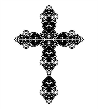 Christian cross design vector art.