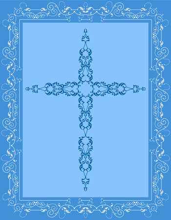 Christian cross design vector art in blue background.