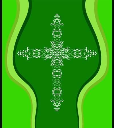 Christian cross design vector art in green background.