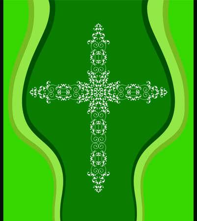 Christian cross design vector art in green background.