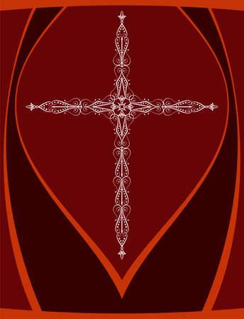 Christian cross design vector art in red background.