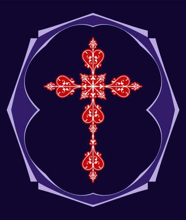 Christian cross design vector art in black background.