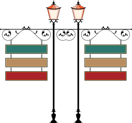 Wrought Iron Signage With Lamp, Lantern Vector Illustration Vectores