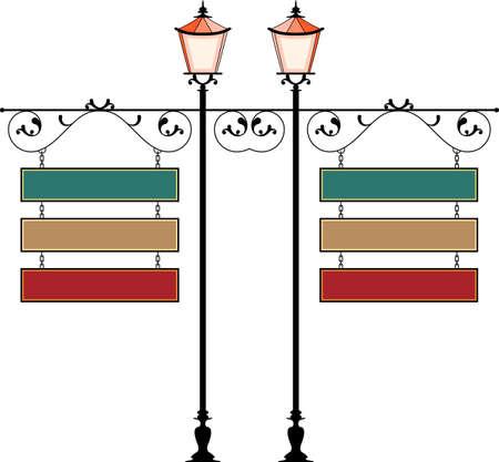 Wrought Iron Signage With Lamp, Lantern Vector Illustration Vettoriali