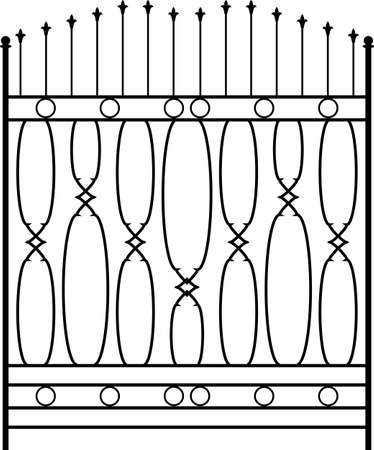 Wrought Iron Gate, Ornamental Design Vector Illustration