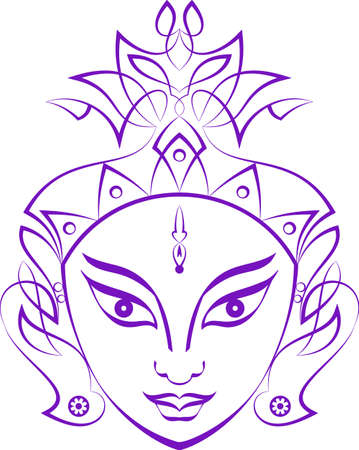 Durga Goddess of Power Vector Illustration 일러스트