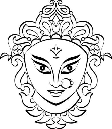 Durga Goddess of Power Vector Illustration Иллюстрация