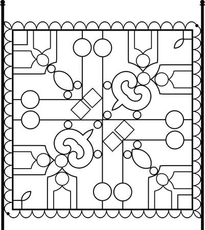 Linear tile design monochrome illustration.