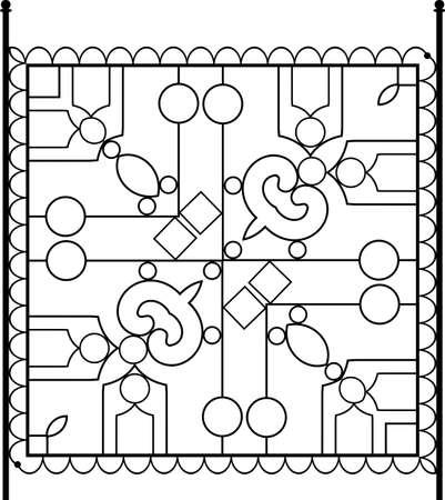 Linear tile design monochrome illustration.