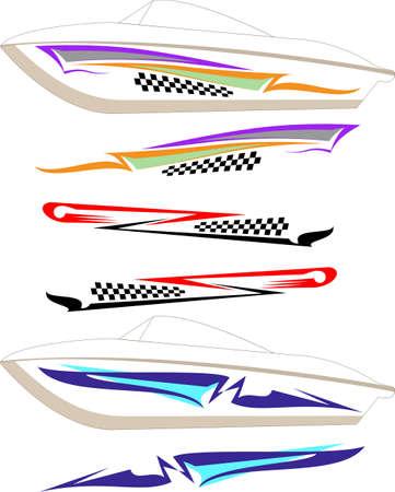 Boat Graphics design colored line art illustration.