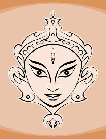 Durga Goddess of Power Vector Illustration Illustration