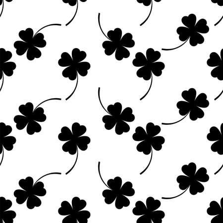 Clover Four Leaf Icon Seamless Pattern Vector Art Illustration Ilustracja