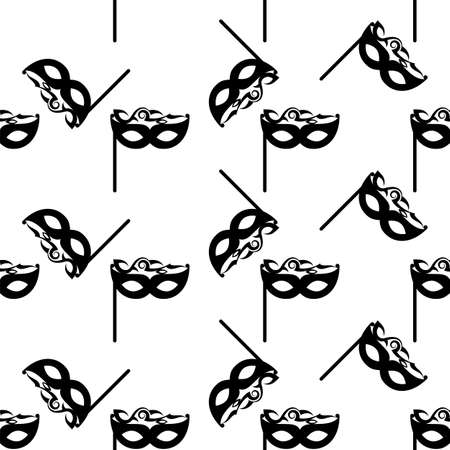 Carnival, Masquerade Mask Icon Seamless Pattern Vector Art Illustration 矢量图像