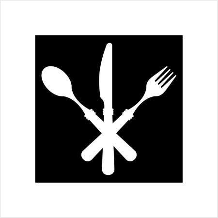 Dish Fork Knife Spoon Icon Vector Art Illustration Stock Illustratie