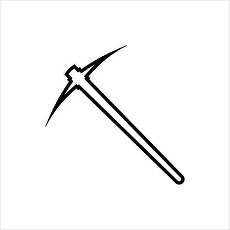 Pickaxe Icon, Pick-Axe Tool Vector Art Illustration