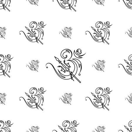 Aum (Om) The Holy Motif Seamless Pattern Vector Art Illustration Illustration