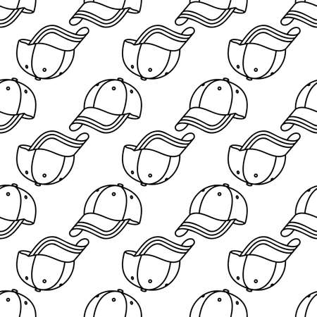 Baseball Cap Icon Seamless Pattern Vector Art Illustration
