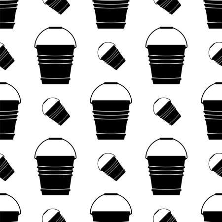 Bucket Icon Seamless Pattern Vector Art Illustration