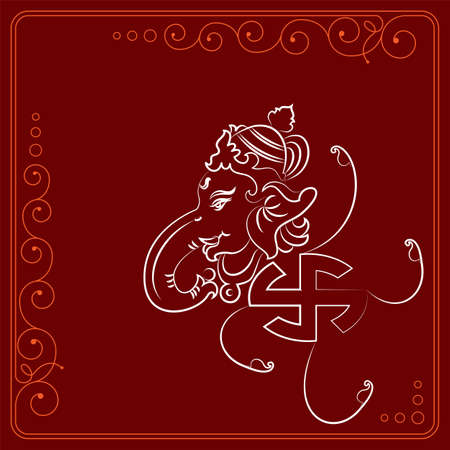 Ganesha The Lord Of Wisdom Design Vector Art Illustration  イラスト・ベクター素材