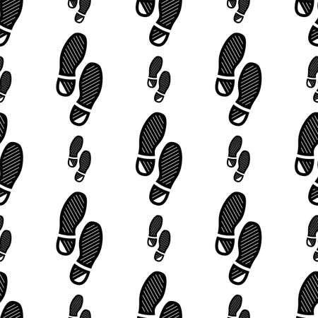 Imprint Soles Shoes Icon Seamless Pattern Vector Art Illustration