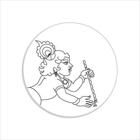 Calligraphic Lord Krishna Vector Art Illustration