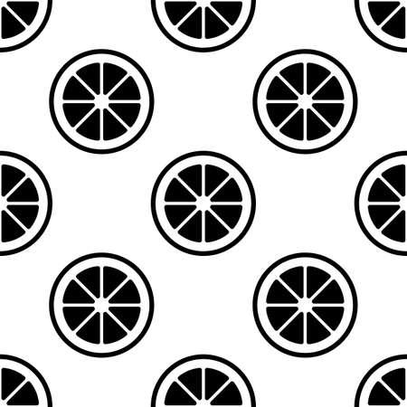 Lemon Fruit Slice Seamless Pattern Vector Art Illustration