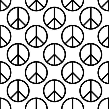 Peace Icon Seamless Pattern Vector Art Illustration Vetores